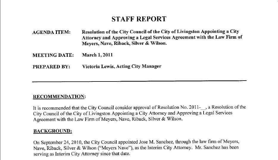 Staff ReportResolution Appointing City Attorney And Approving Legal