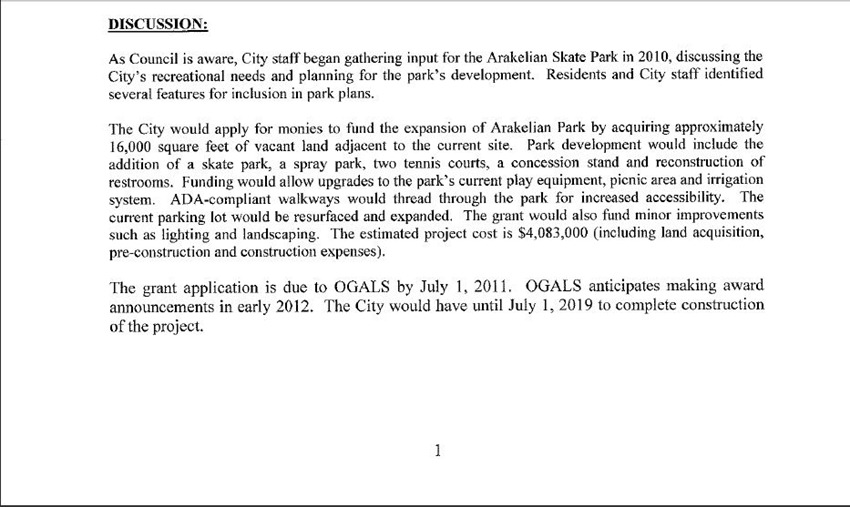 Park Developemnt Grant 2