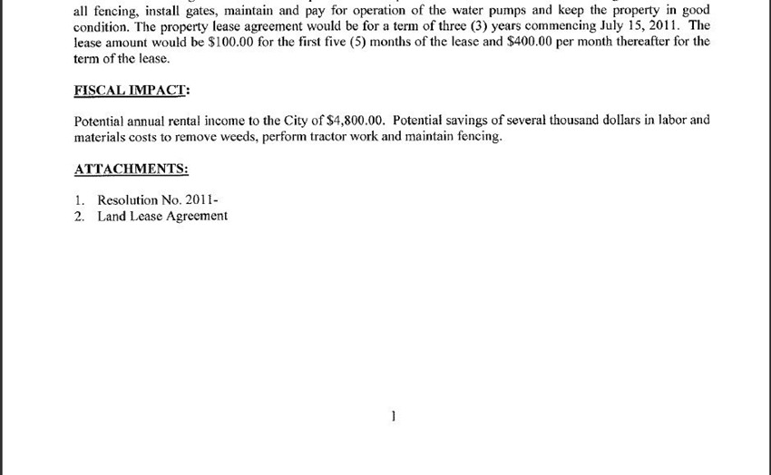 Staff Resolution Approving Land Lease Agreement Between The City Of
