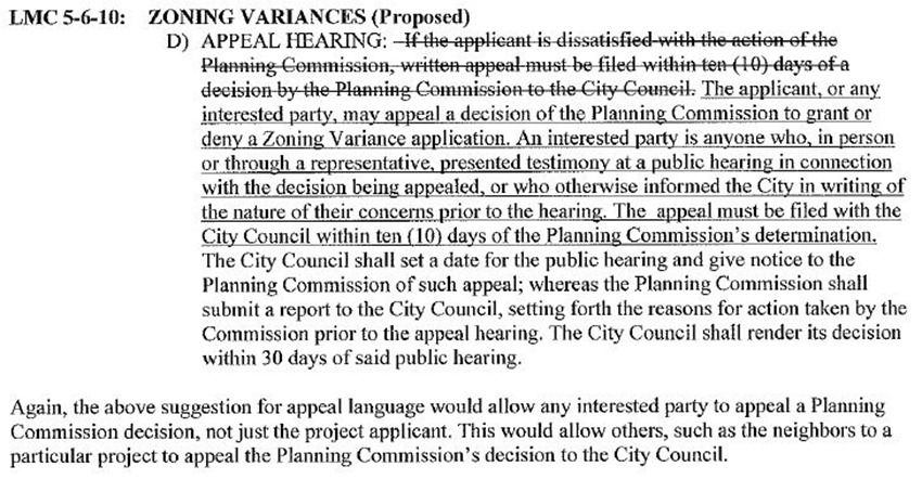 Zoning Variance Proposed Change