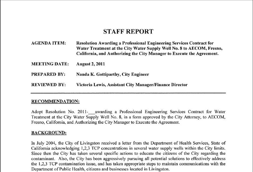 Staff Report | Staff Report Resolution Awarding A Professional Engineering Services