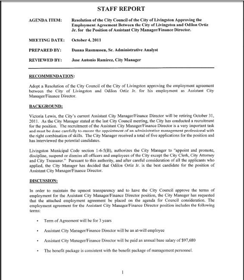employment agreement between the city of livingston and odilon ortiz jr for his employment as