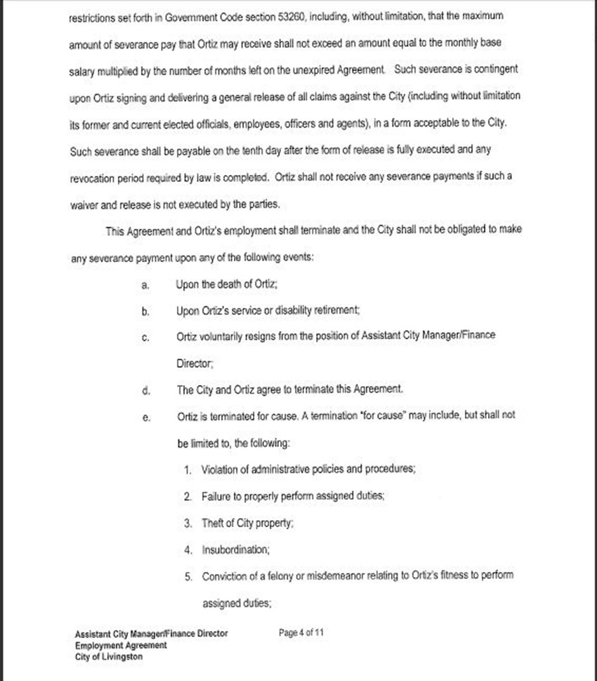 employment agreement between the city of livingston and odilon assist city manager contract 8