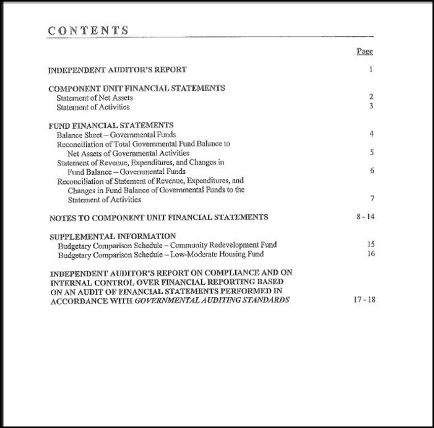 Redevelopment agencyindependent audit report june 30 2011 staff report cover page contents page thecheapjerseys Images