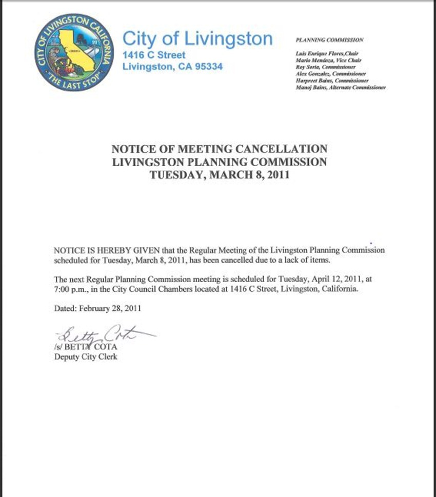 March 2001 Meeting Cancelation Notice