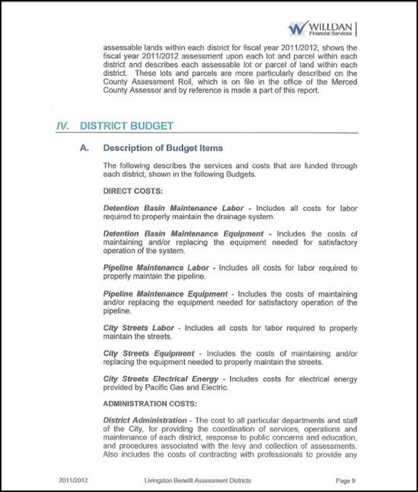 Benefit Assessment District Page 5 - 9