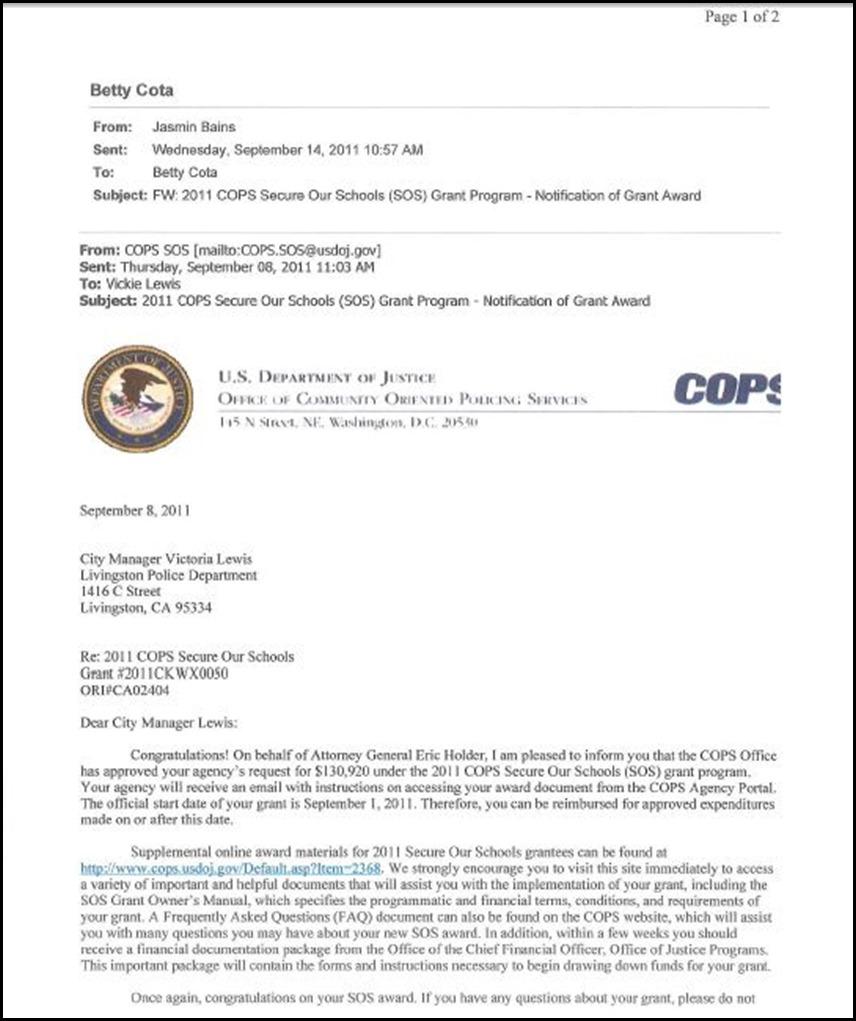 COPS Grant Award 1
