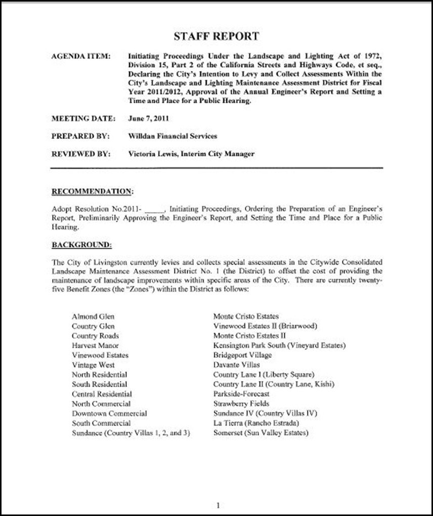 Landscape and Lighting Maintenance Assessment District  Page 1