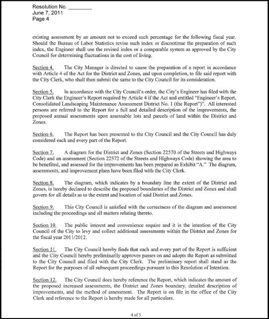 Landscape and Lighting Maintenance Assessment District  Page 3 - 4