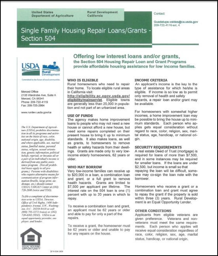 USDA Housing Grant 1