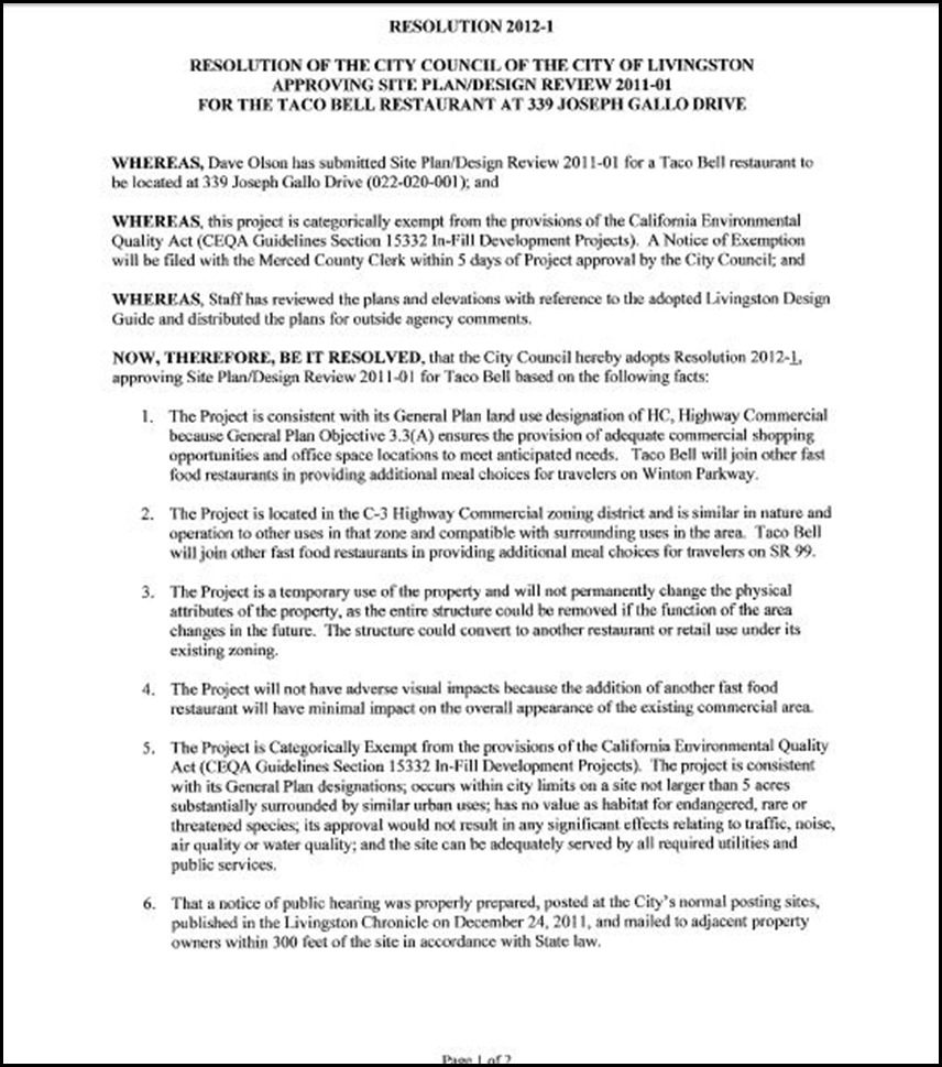 City Council Resolution 2012-1 Page 1