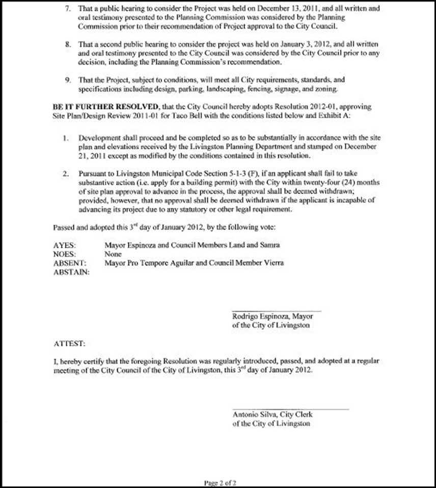 City Council Resolution 2012-1 Page 2
