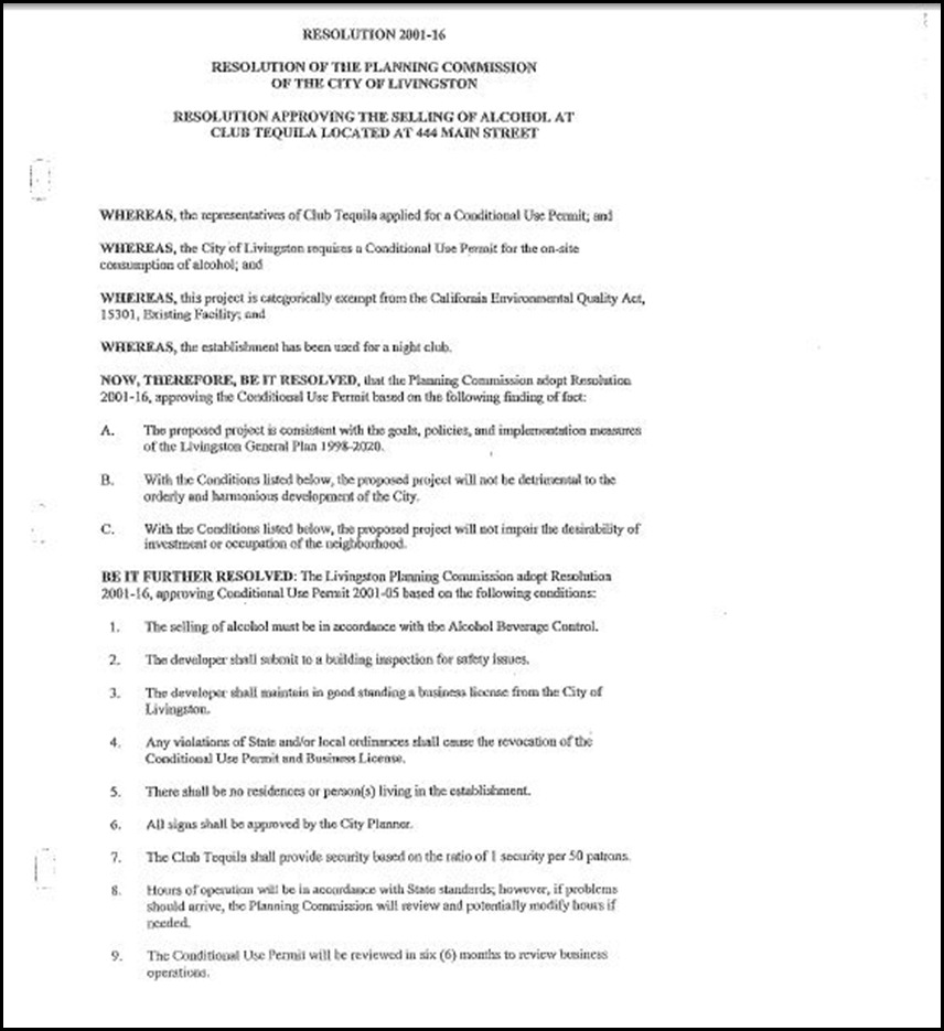 Resolution 2001-16 Page 1