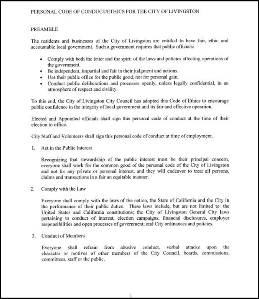 Approval Of Personal Code Of Conduct/Ethics For The City