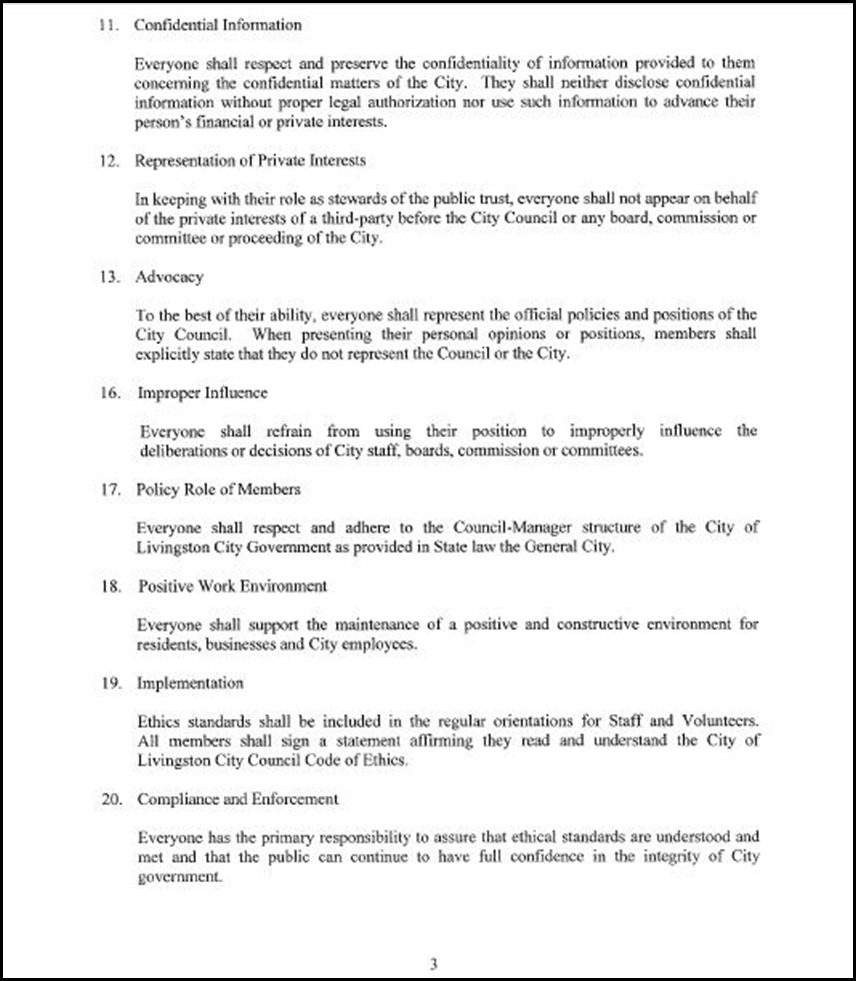 approval of personal code of conduct  ethics for the city