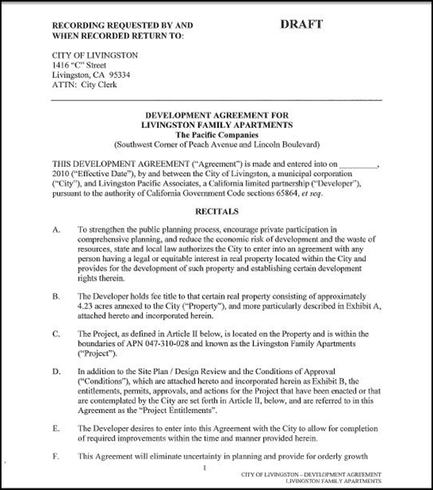 Development Agreement Page 1