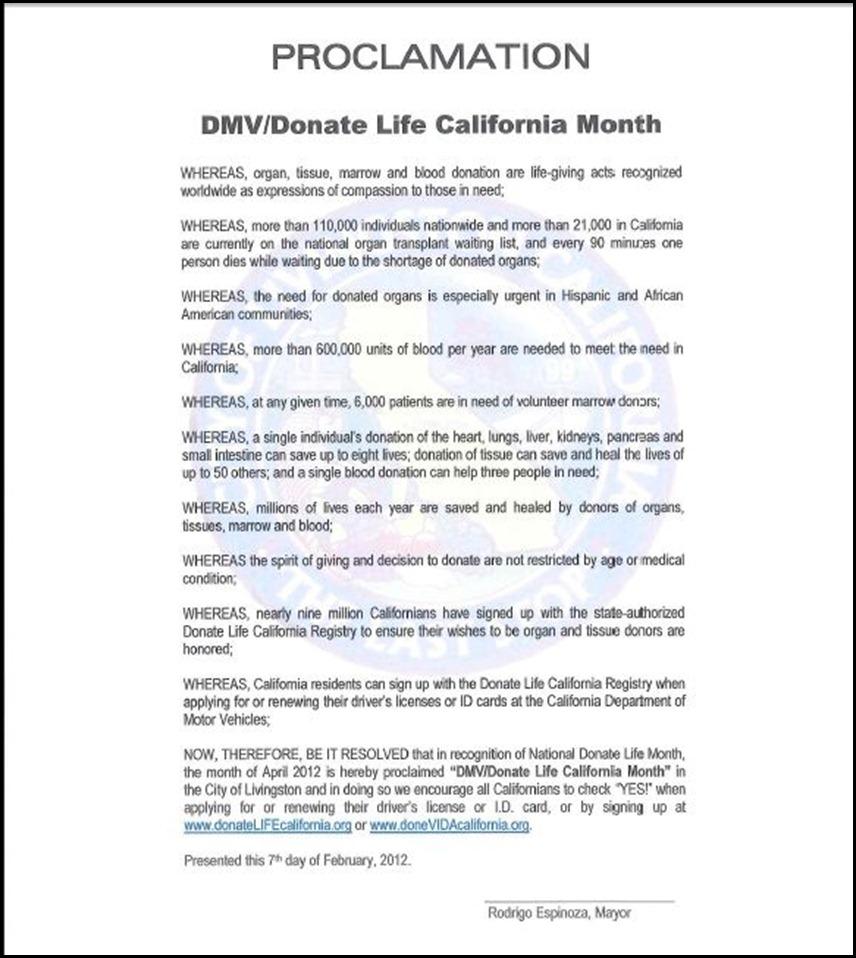 DMV Donate Life Proclamation