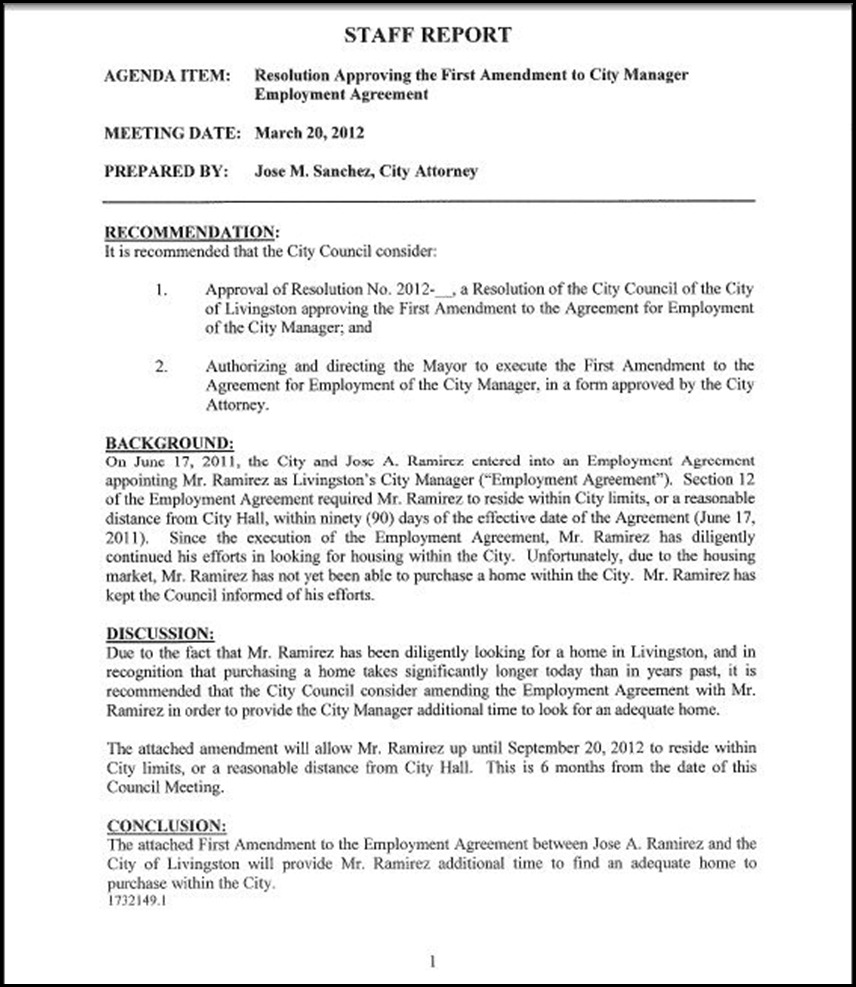Resolution Approving The First Amendment To City Manager Employment