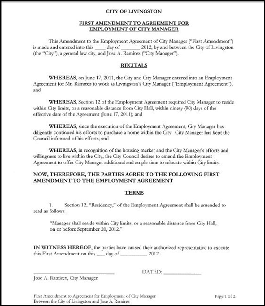 resolution approving the first amendment to city manager