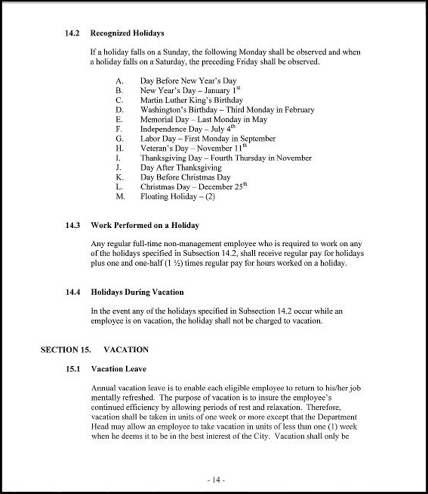 MOU-Management-Confidential Employees Page 4-14
