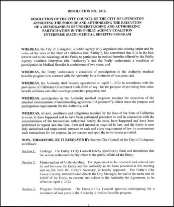MOU and Authorizing Participation in the Public Agency Coalition ...