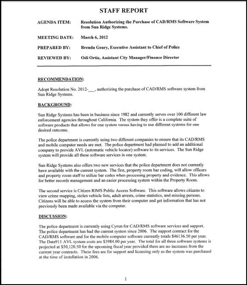 Sun Ridge System Page 1