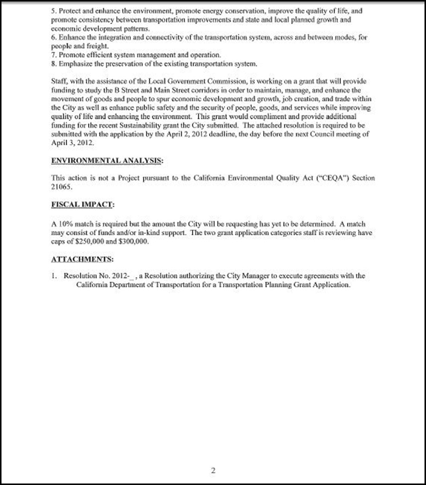 Transportation Planning Grant Application Page 2