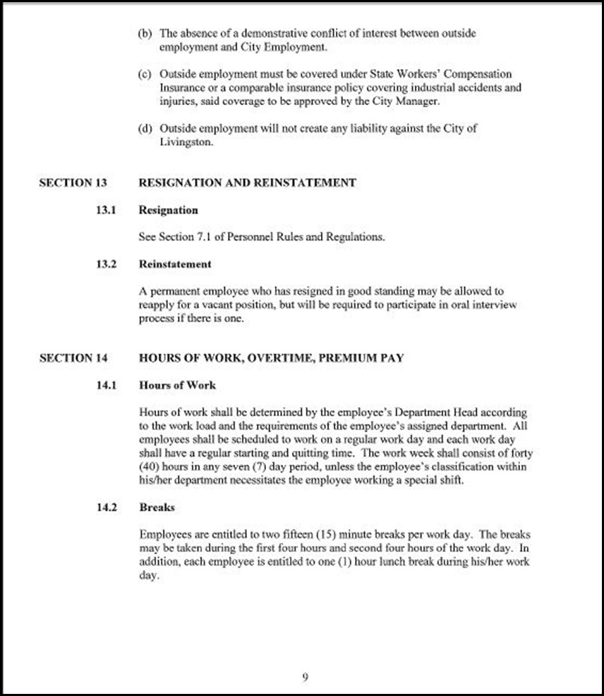 Clerical Empl MOU Page 5-9