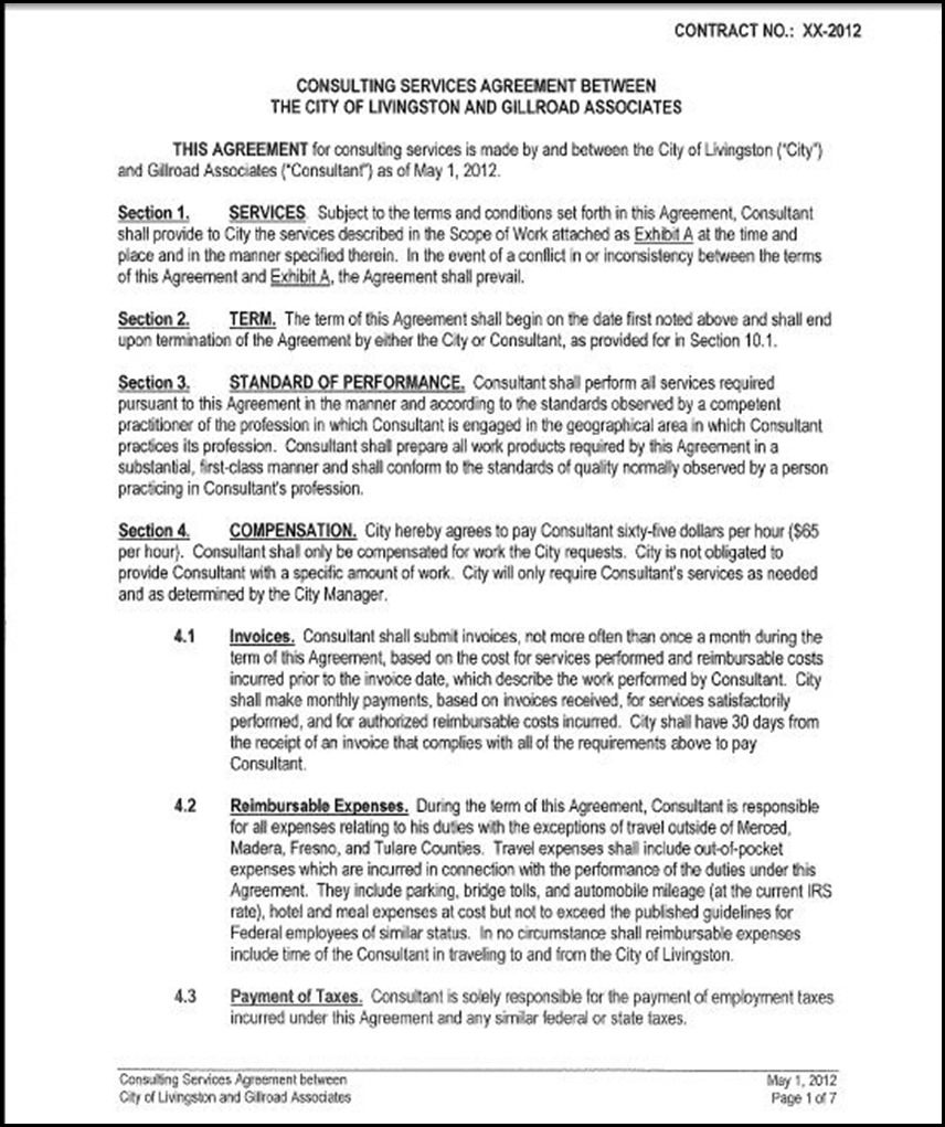 One Year Independent Contractors Agreement Gillroad Associates – Consulting Service Agreement