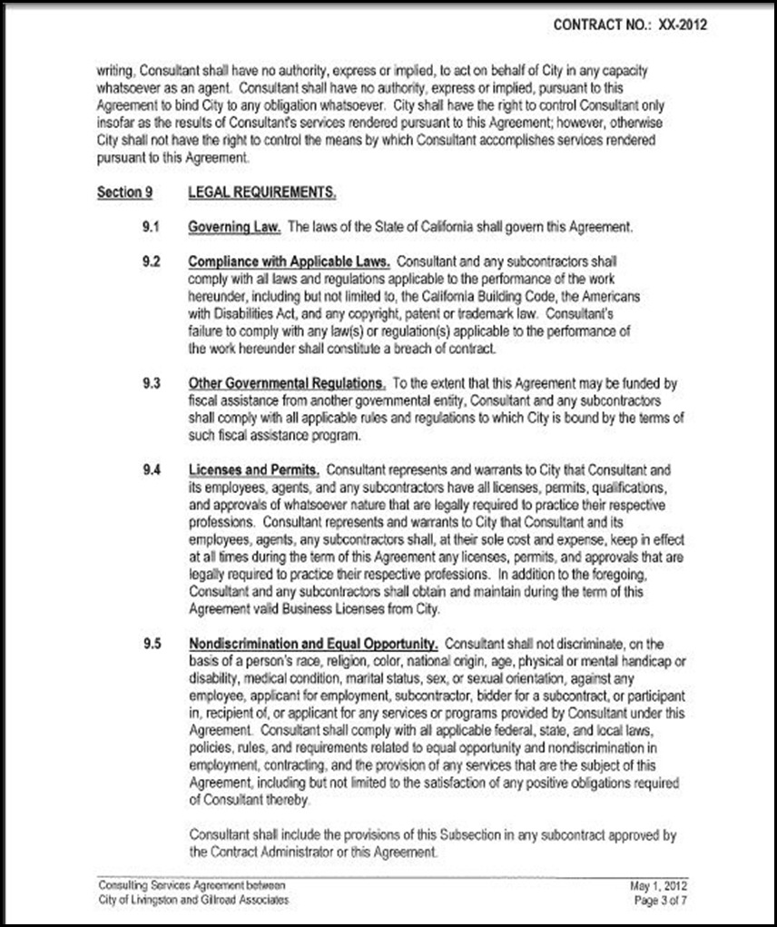 Consulting Services Agreement Page 3