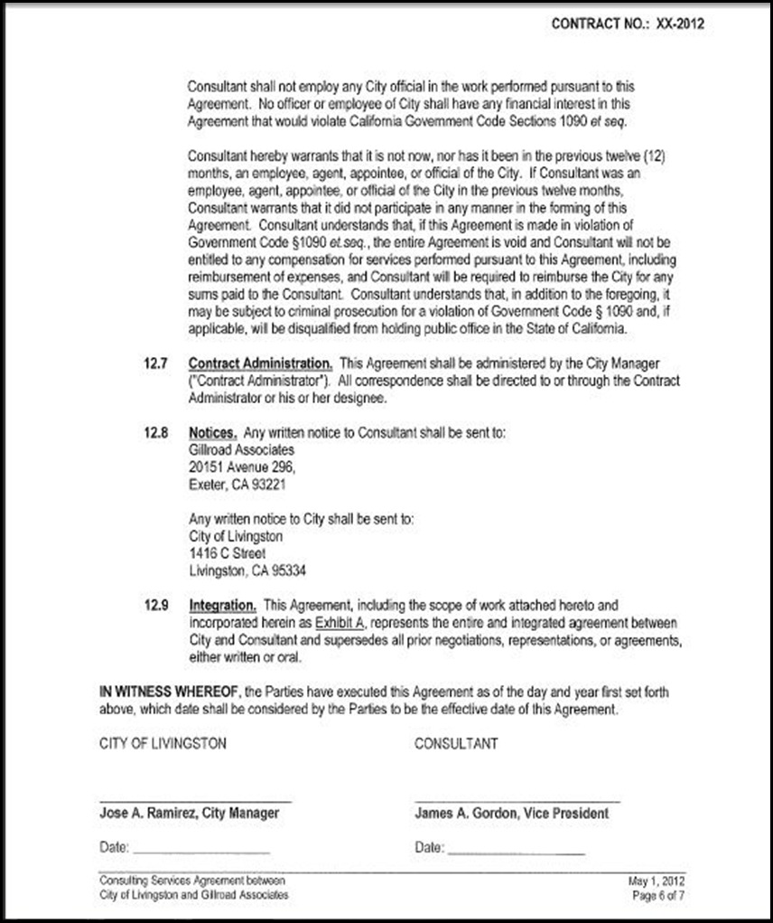 Consulting Services Agreement Page 6