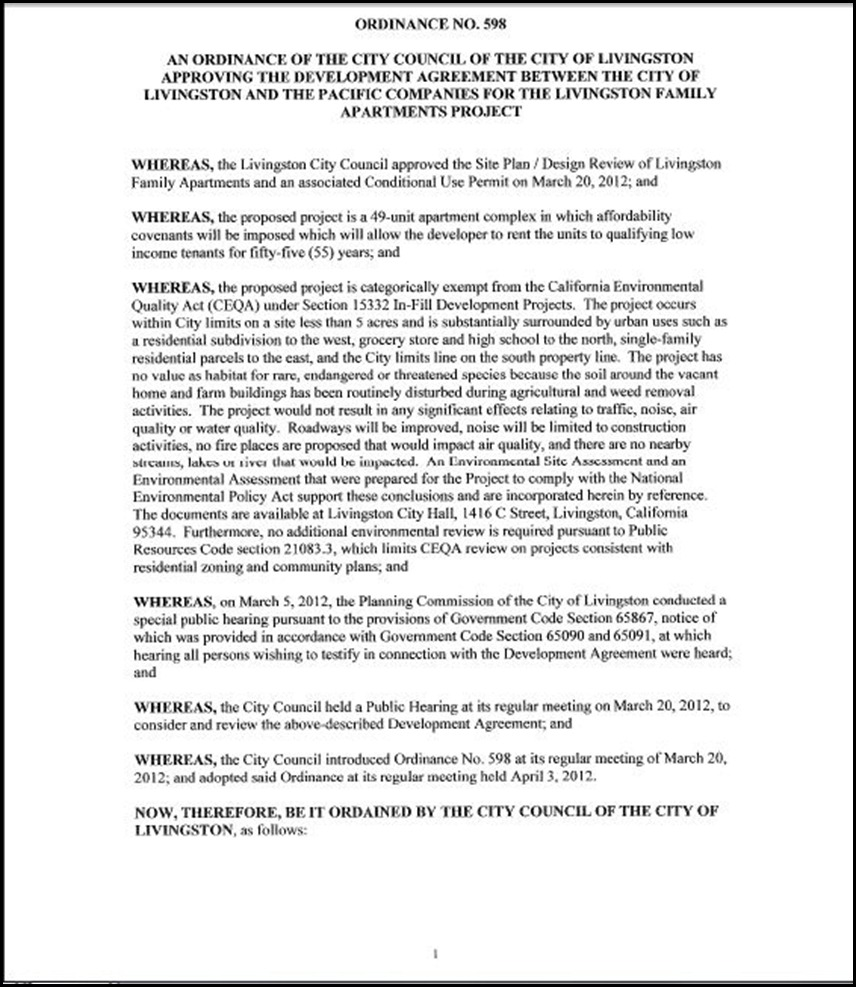 Development Agreement Page 3-1