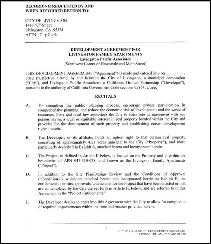 Development Agreement Page 4-1