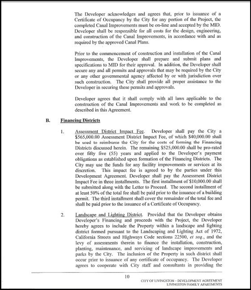 Development Agreement Page 4-10