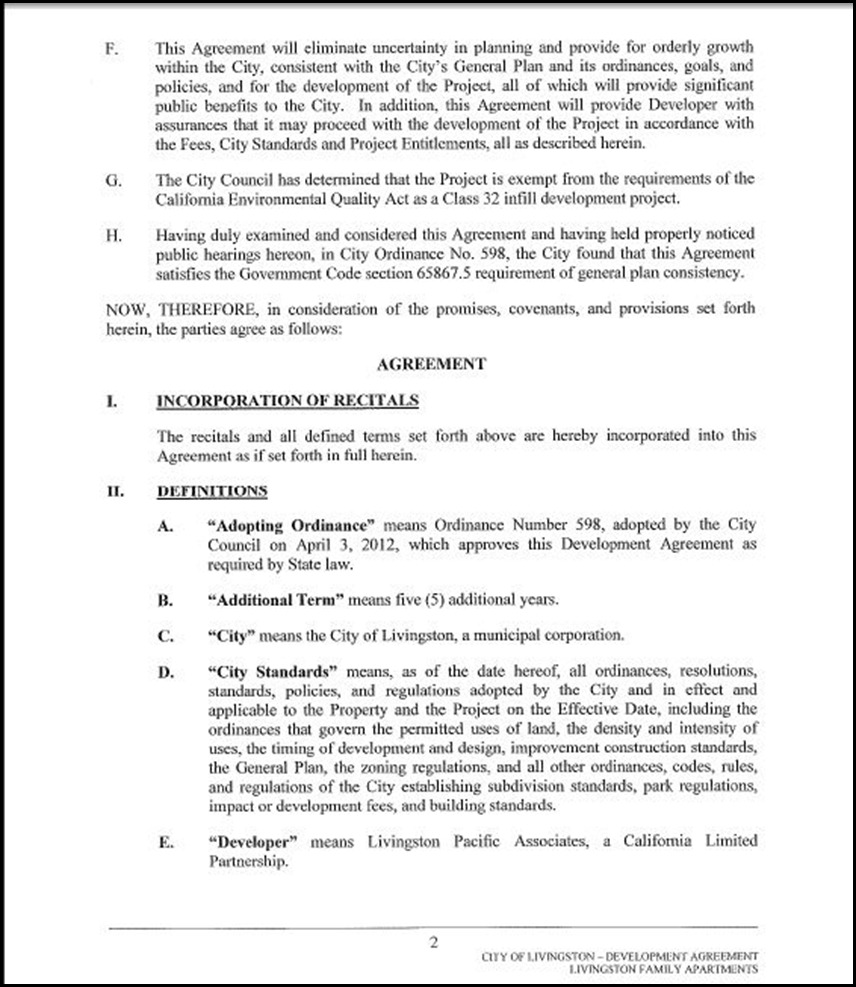 Development Agreement Page 4-2