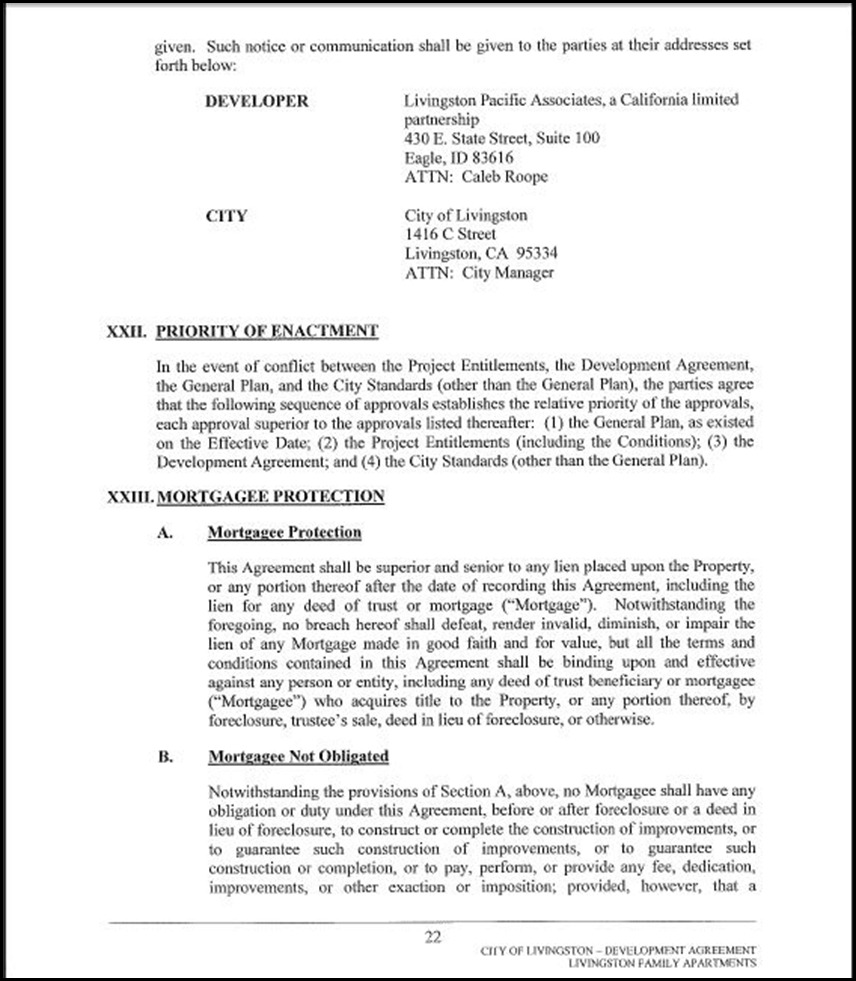 Development Agreement Page 4-22
