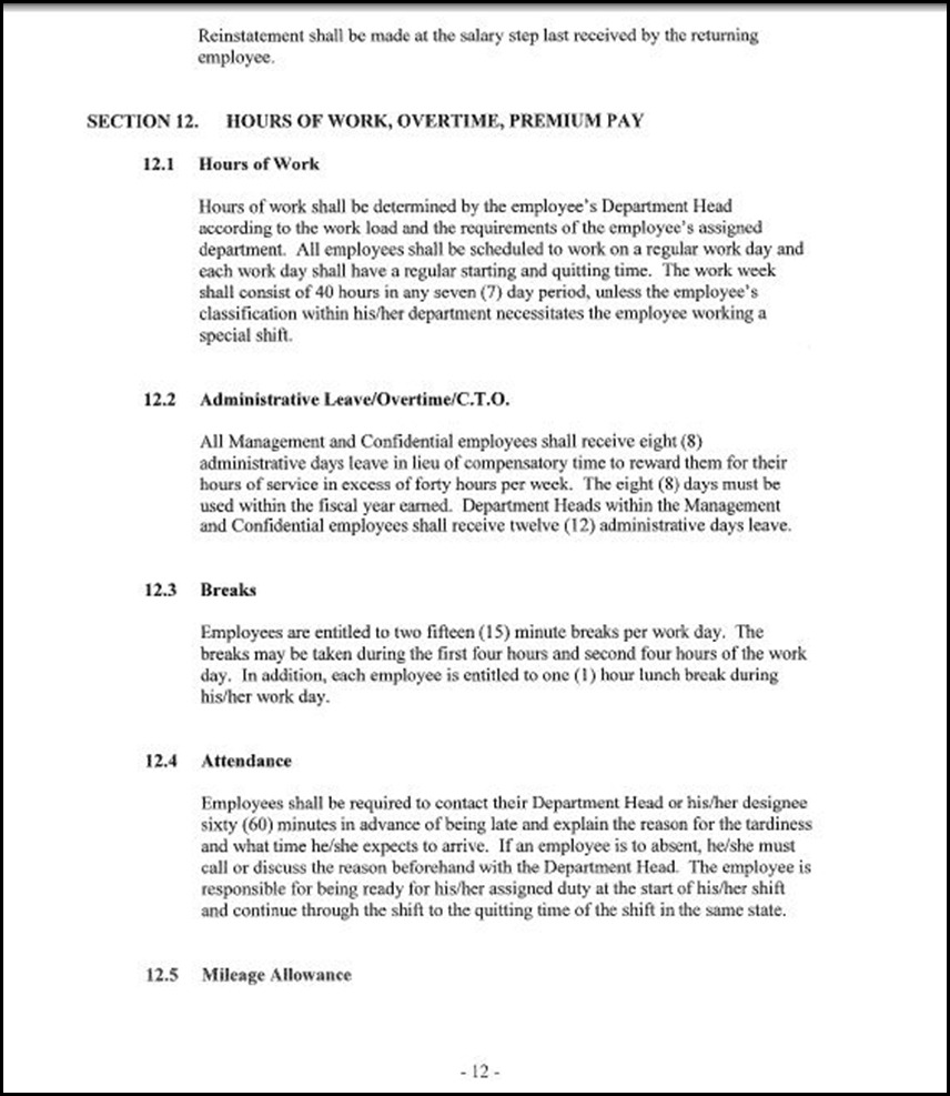 Management and Confidential Employees Association Page 3-12