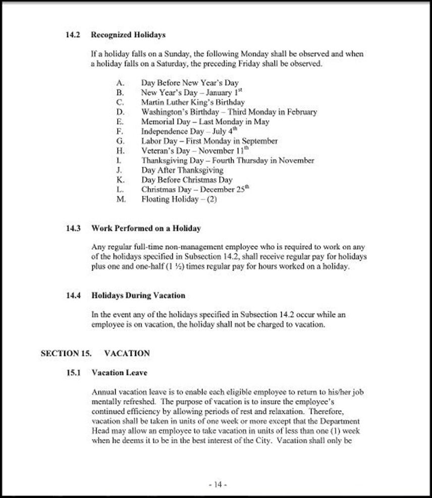 Management and Confidential Employees Association Page 3-14