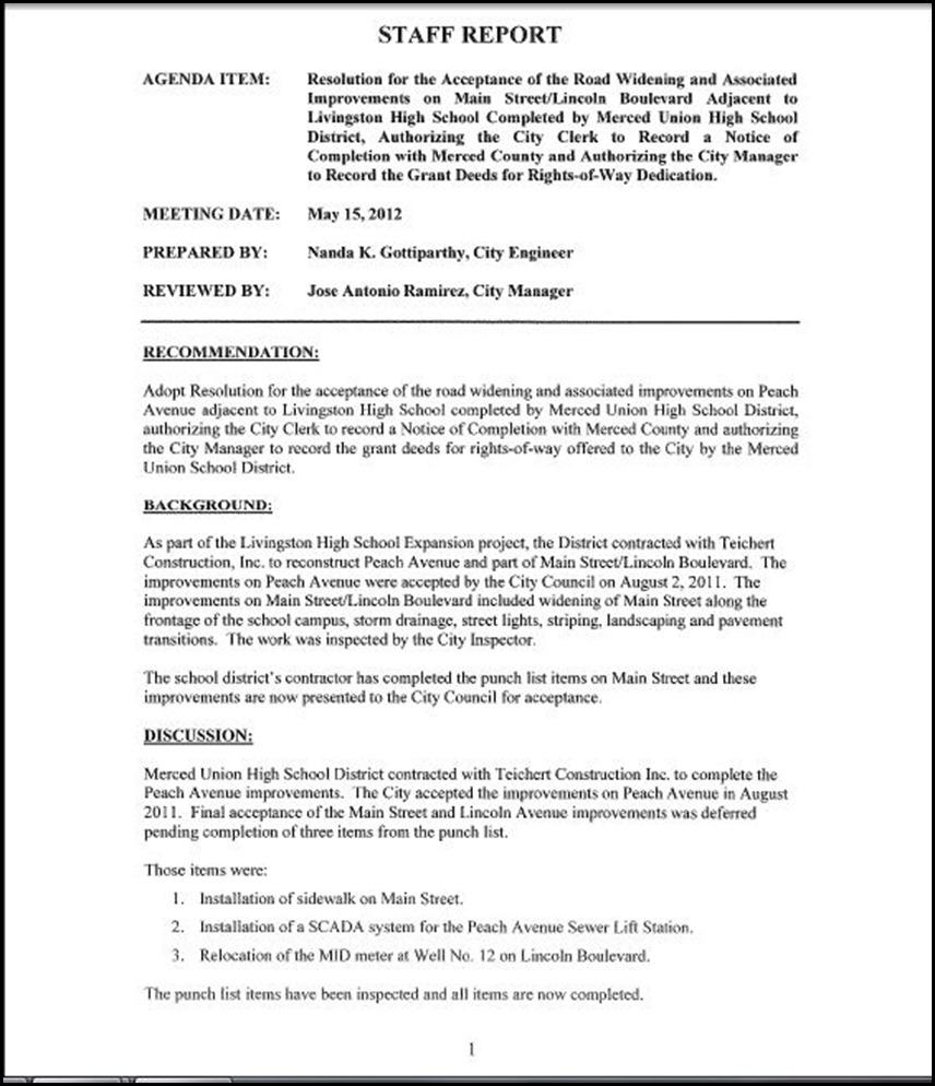 Main St Improvements Page 1