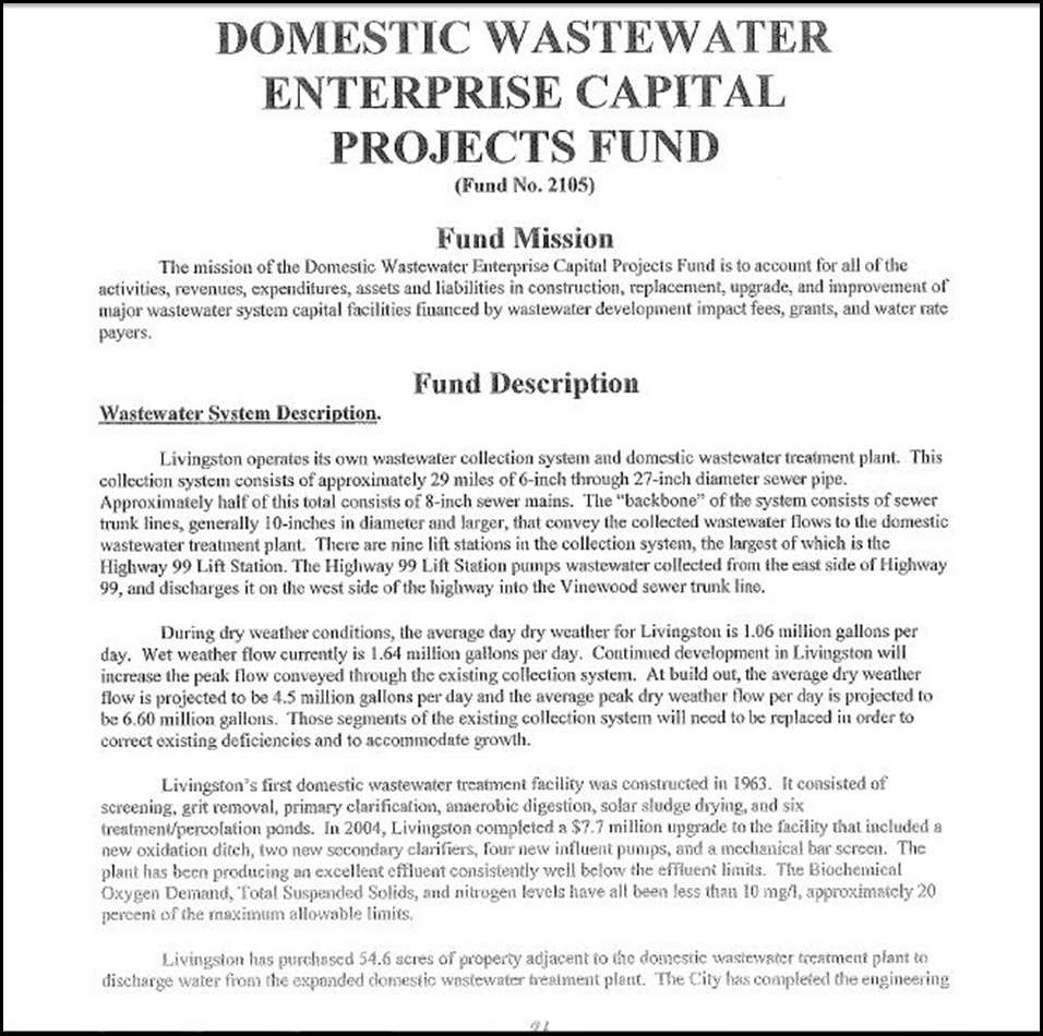 Domestic Wastewater Enterprise Capital Projects Fund