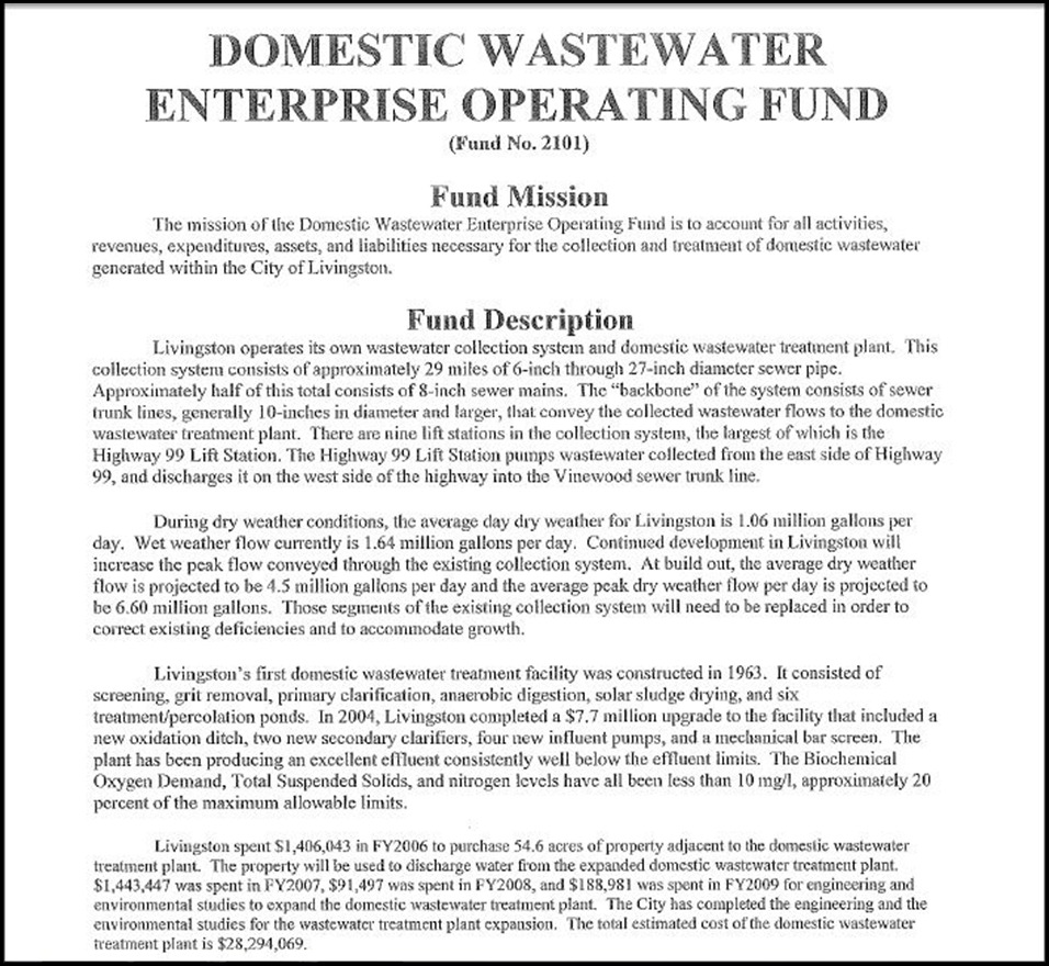 Domestic Wastewater Enterprise Operating Fund Page 1