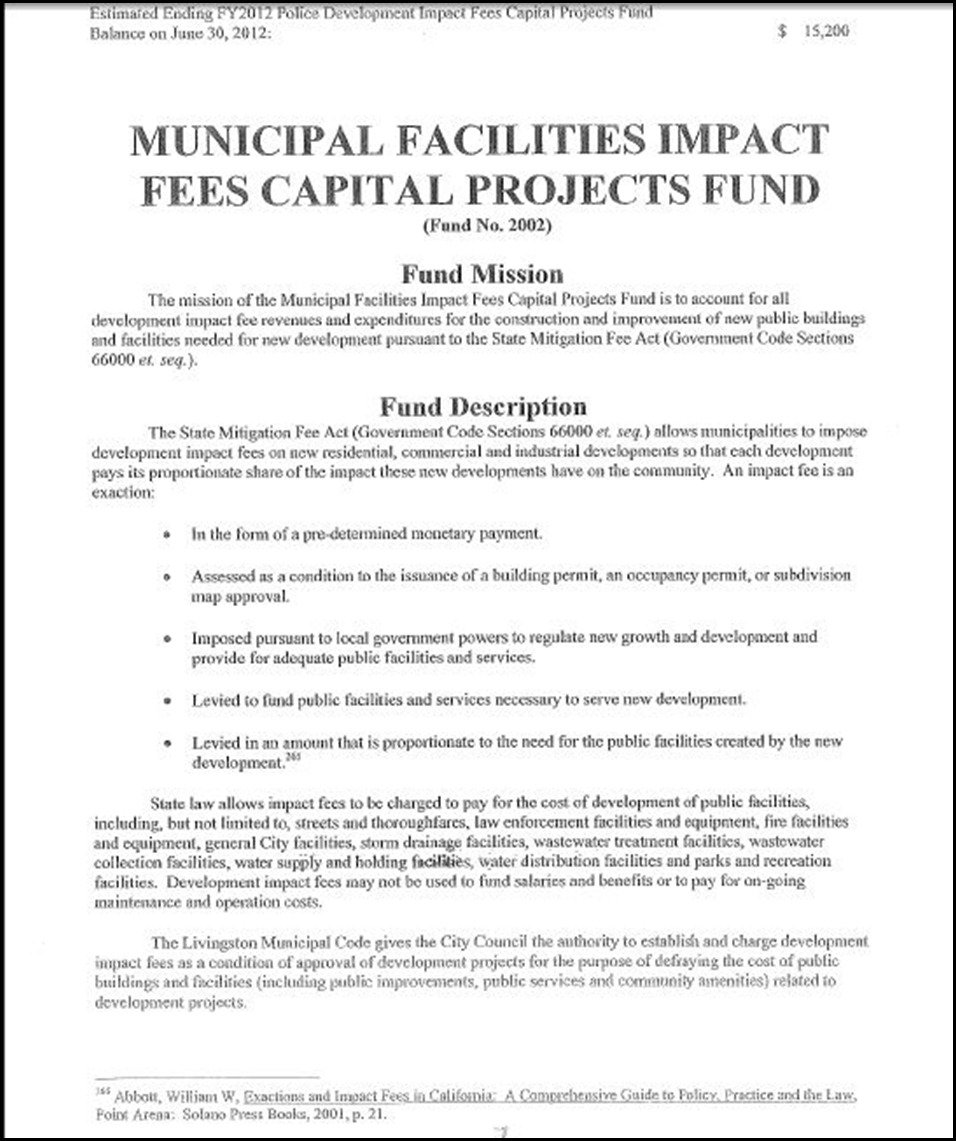 Municipal Facilities Impact Fees Capital Projects Fund Page 1