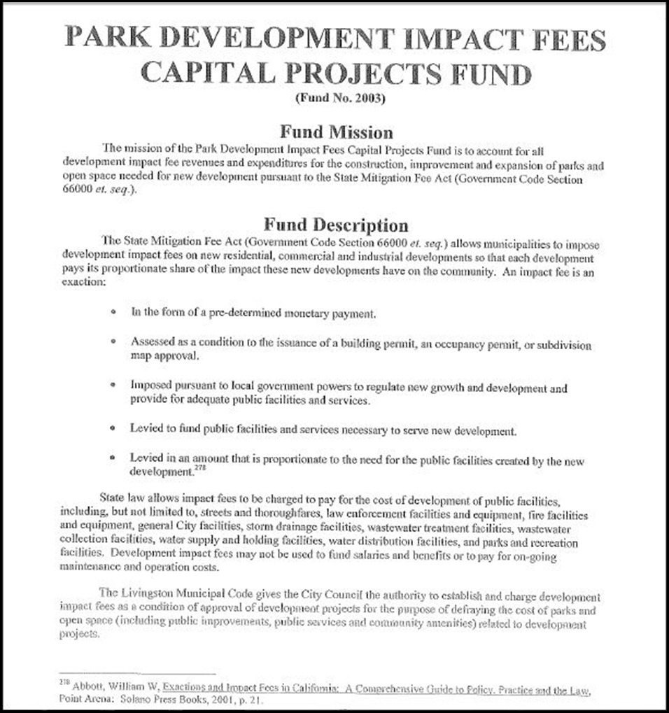 Municipal Facilities Impact Fees Capital Projects Fund Page 2