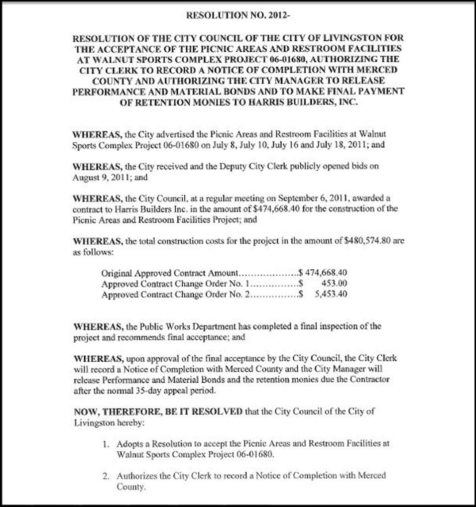 Resolution for the Acceptance of the Picnic Areas and