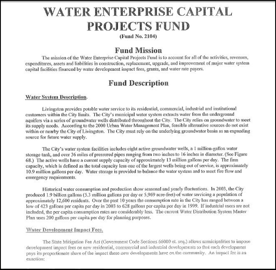 Water Enterprise Capital Projects Fund Page 1