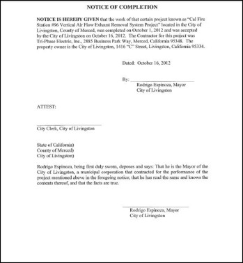 Resolution for the Acceptance of the Cal Fire Station #96