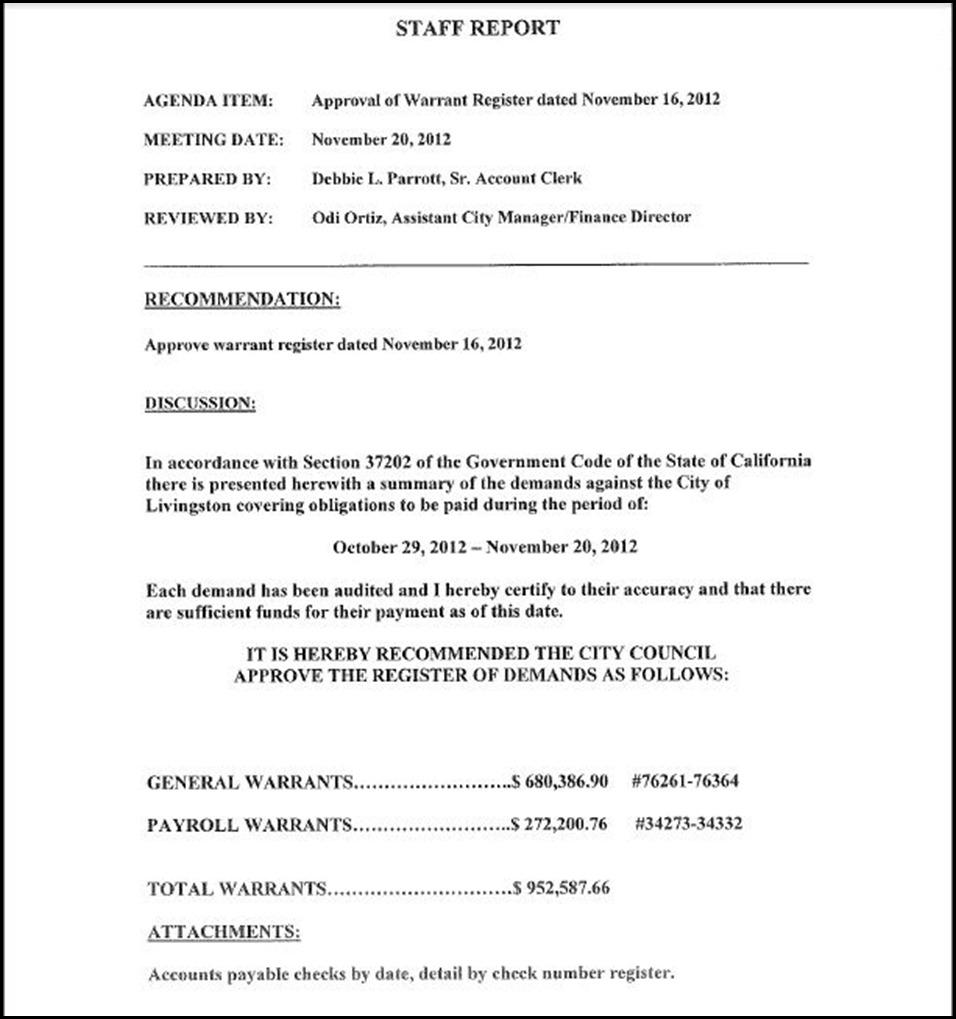 A Staff Report