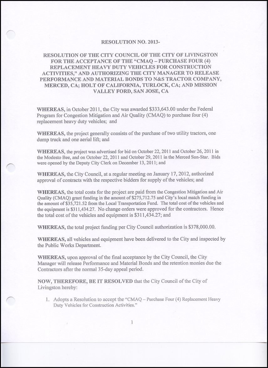 """Resolution for the Acceptance of the """"CMAQ – Purchase Four (4"""