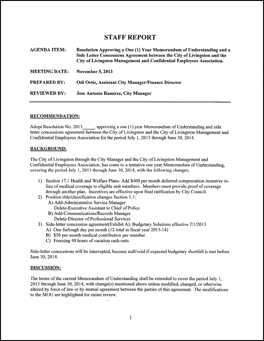 resolution approving a one 1 year memorandum of understanding and a side letter concessions agreement between the city of livingston and the city of