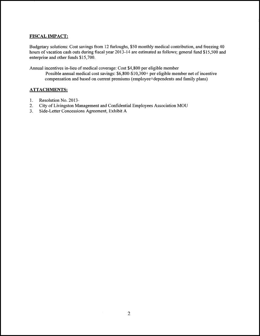 Resolution Approving a e 1 Year Memorandum of Understanding